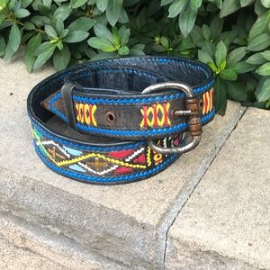 Vintage Hippie Hand Crafted Woven Leather Belt